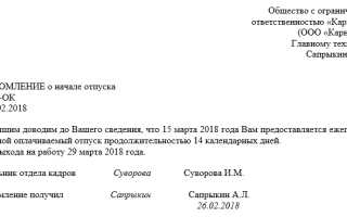 Узор и форма уведомления сотрудника о начале отпуска 2021