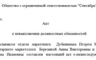 Акт об отказе выполнять должностные обязанности